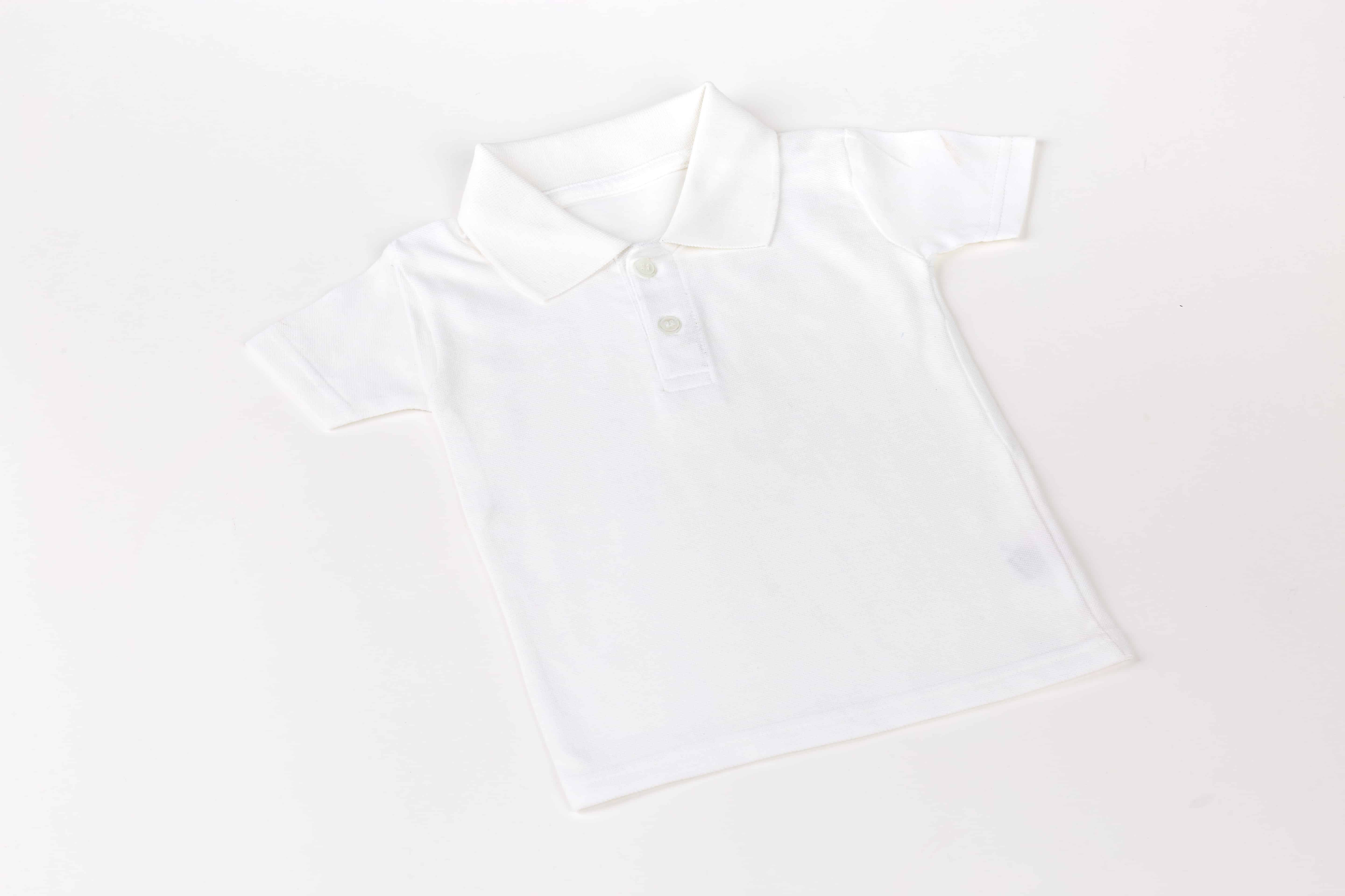 graphic about Printable T Shirt called White Youngster Polo T-Blouse (Non-printable)