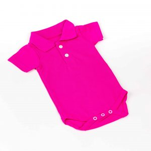 Baby Short-Sleeve Polo Bodysuit- Hot Pink (Non-Printable)
